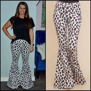 *Restocked* - Leopard Bell Bottom Jeans